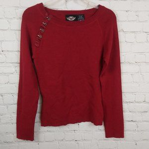 Harley Davidson Women Long Sleeve Red Top Size S